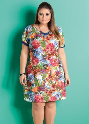 Vestido Decote Redondo Floral Plus Size