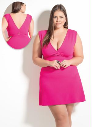 Vestido Decote V Quintess Rosa Plus Size