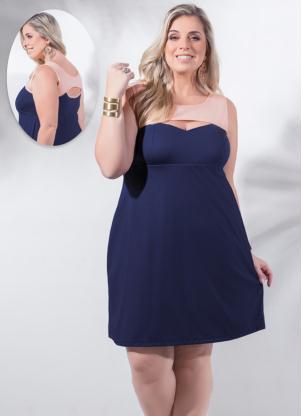 Vestido Detalhe Vazado Marinho Plus Size