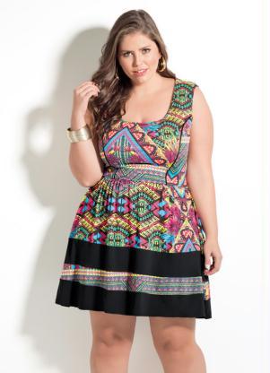 Vestido étnico Quintess Sem Mangas  Plus Size