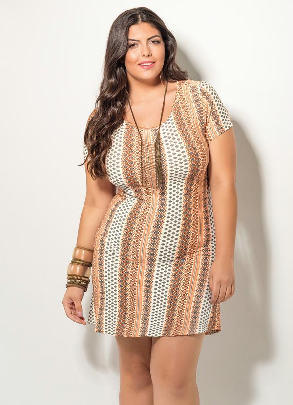 295e28daab8509 Quintess - Vestido Evasê Estampado Quintess Plus Size