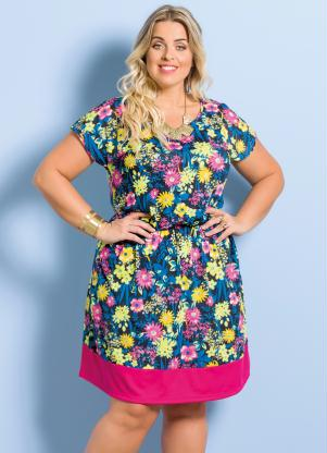 Vestido Evasê Floral E Pink Marguerite Plus Size