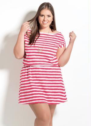 Vestido Listrado Quintess Manga Curta Plus Size