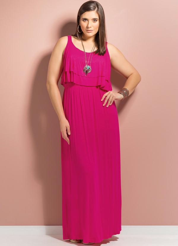 7a4f5f072 Quintess - Vestido Longo Babados no Decote Pink Plus Size - Quintess