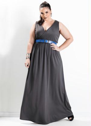 Vestido Longo Com Decote V Cinza Plus Size