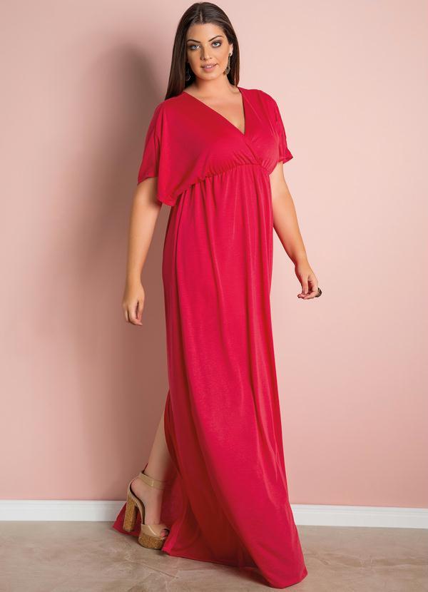 de3bec6fa Quintess - Vestido Longo com Fenda Vermelho Plus Size - Quintess