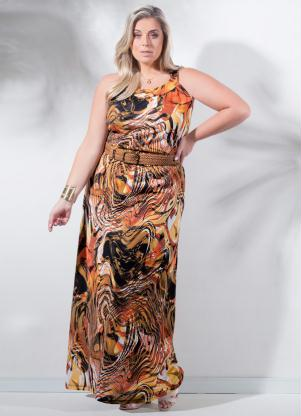 Vestido Longo Estampa Abstrata Plus Size