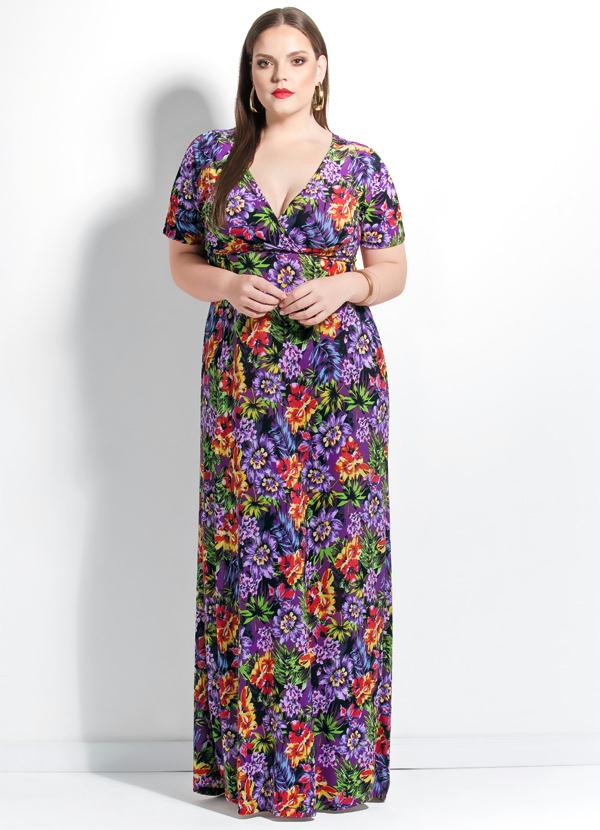 e4b7124f02cb Quintess - Vestido Longo Floral Decote V Plus Size - Quintess