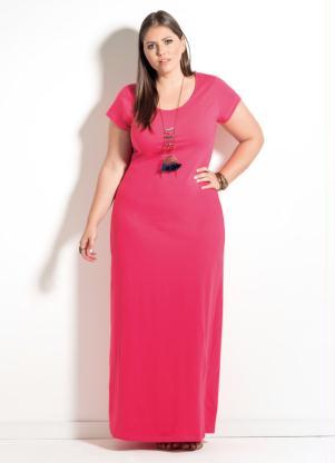 Vestido Longo Quintess Com Fenda Rosa Plus Size