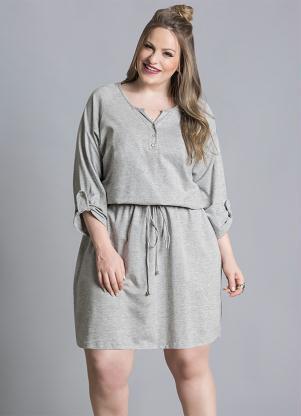 Vestido Acinturado Mescla Plus Size