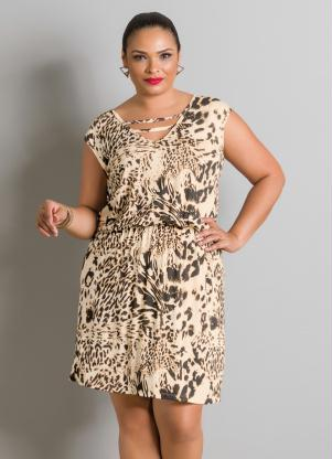 Vestido Animal Print Com Tiras Plus Size