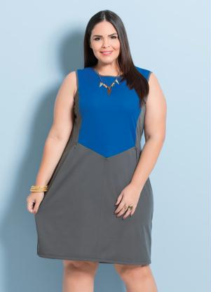 Vestido Bicolor Cinza E Azul Marguerite