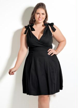 Vestido Decote V Quintess Preto Plus Size