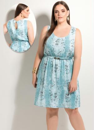 Vestido Evasê  Abstrato E Cinto Plus Size