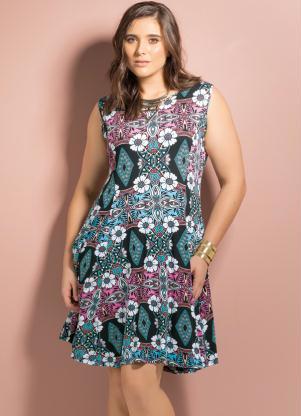 Vestido Evasê Redondo étnico Floral Plus Size