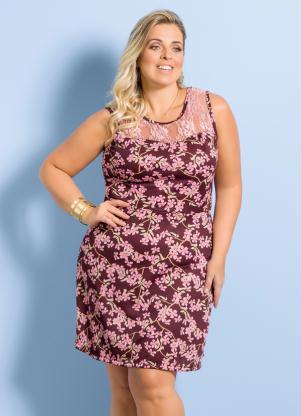 Vestido Floral Com Detalhe Em Renda Plus Size