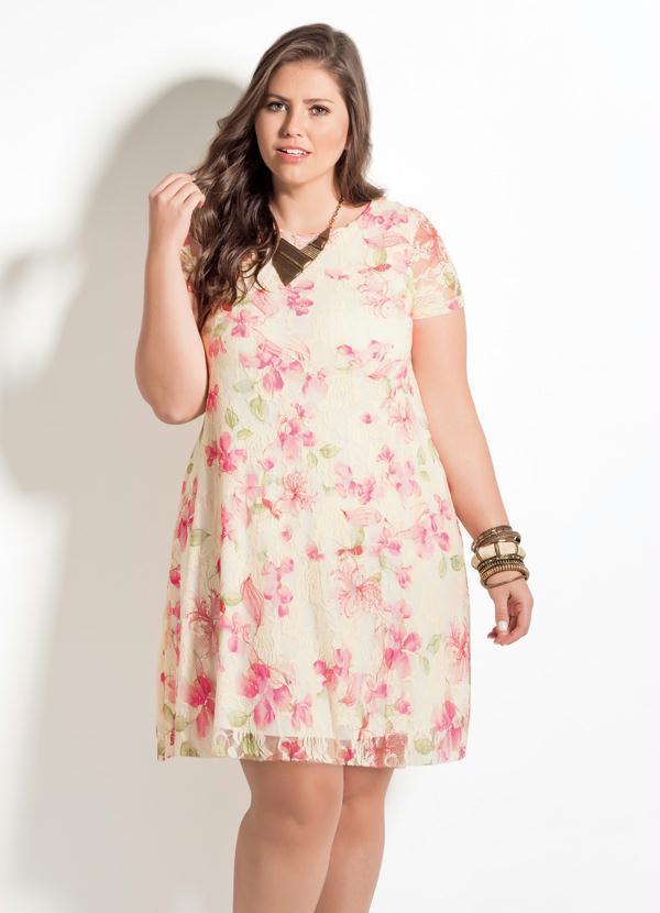 d7551bd18bc3 Quintess - Vestido Floral Quintess Modelo Evasê Plus Size - Quintess