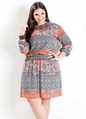 Vestido Manga Longa Mix De Estampas Plus Size