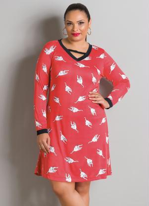 Vestido Manga Longa Vermelho Estampado Plus Size
