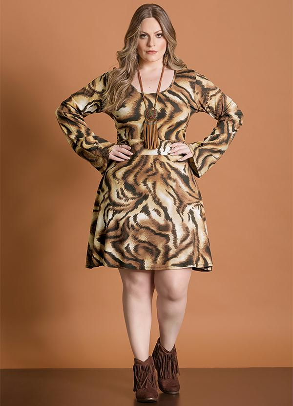9d0f12f24 Vestido Mangas Sino Animal Print Plus Size - Quintess