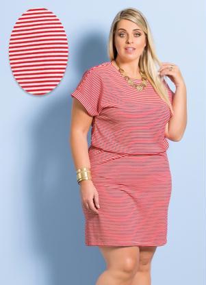 Vestido Marguerite Listrado Vermelho Plus Size