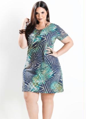 Vestido Reto Estampa Geométrica Plus Size