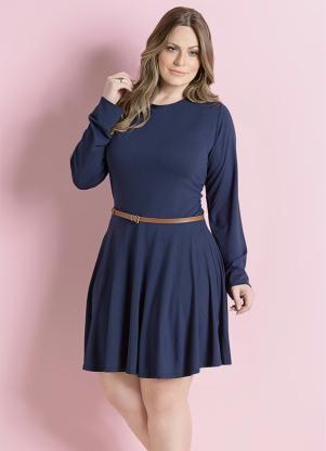 Vestido Rodado Marinho Plus Size