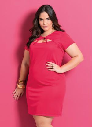 Vestido Vermelho Com Amarração Plus Size