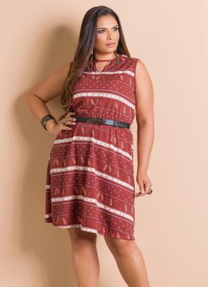 Vestido Vermelho étnico Com Recorte Plus Size