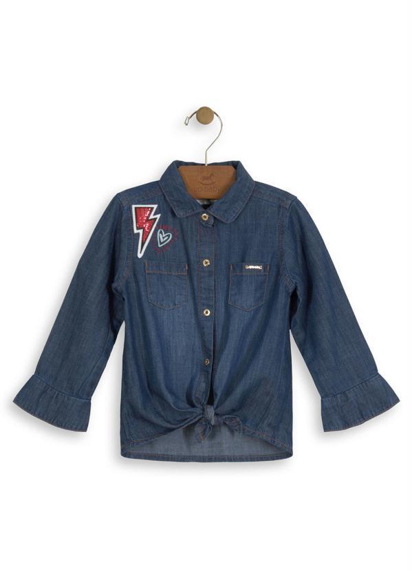 db4443c1dff6b3 Up baby - Camisa Jeans Manga Longa Bebê Azul