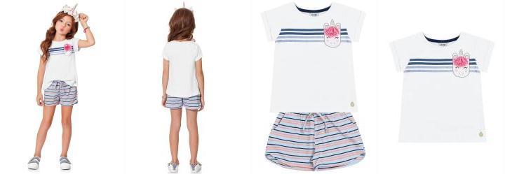 6c2c259779 0.0 Conjunto Blusa Branco Short Azul Fakini Kids