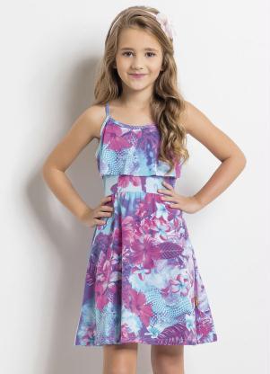 409684d2d Moda Pop - Vestido de Alças Floral com Babado Infantil