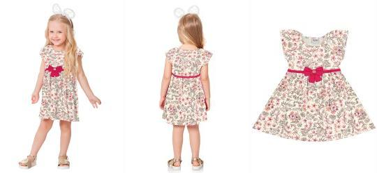 c61091afd Vestido Estampado Bege Fakini Kids