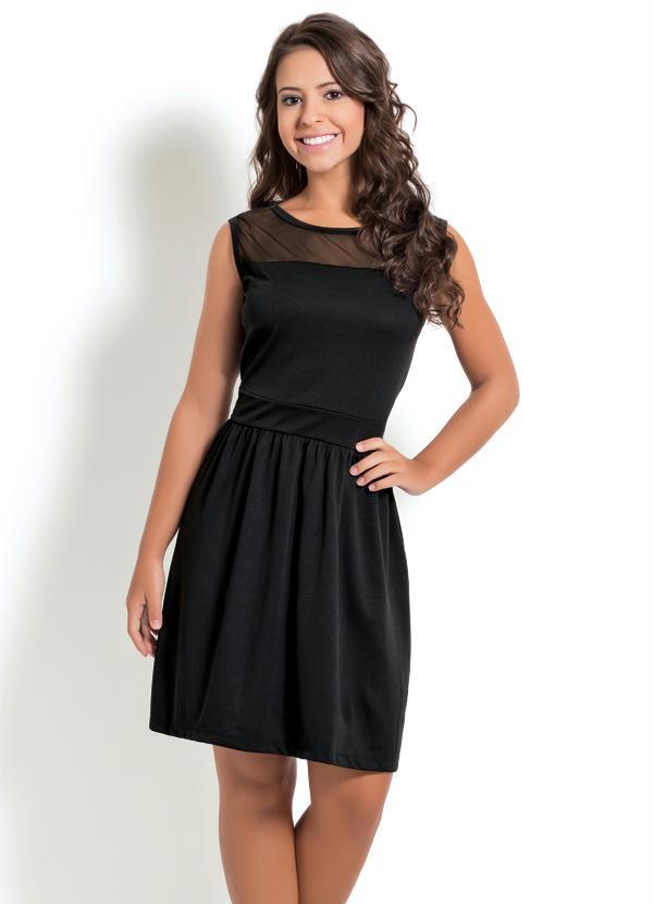 0b4a171e97 Moda pop - Vestido Preto com Tule no Decote - Moda Pop