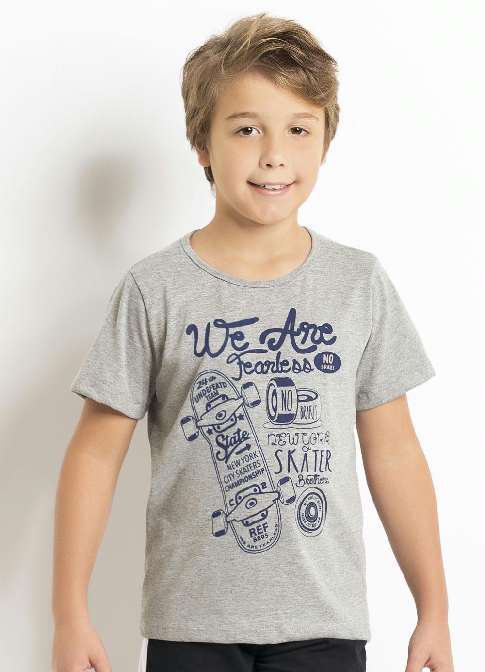Camiseta Infantil Mescla com Estampa de Skate - Queima de Estoque cd26dcbe3da