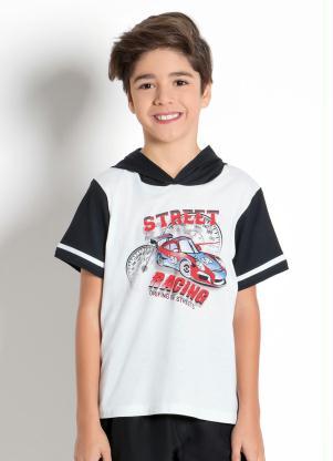 0d40826d6 Moda Pop - Camiseta Infantil Preta e Branca com Gola