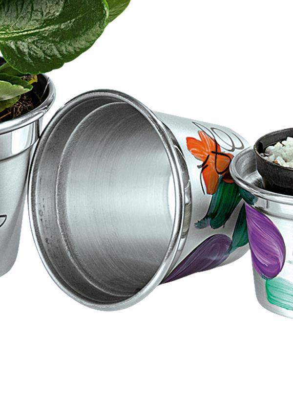Cachepot de alum nio com pintura a m o posthaus - Pintura de aluminio ...