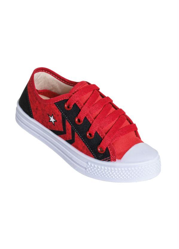 Perfecta - Tênis Infantil Vermelho em Tecido Estampado