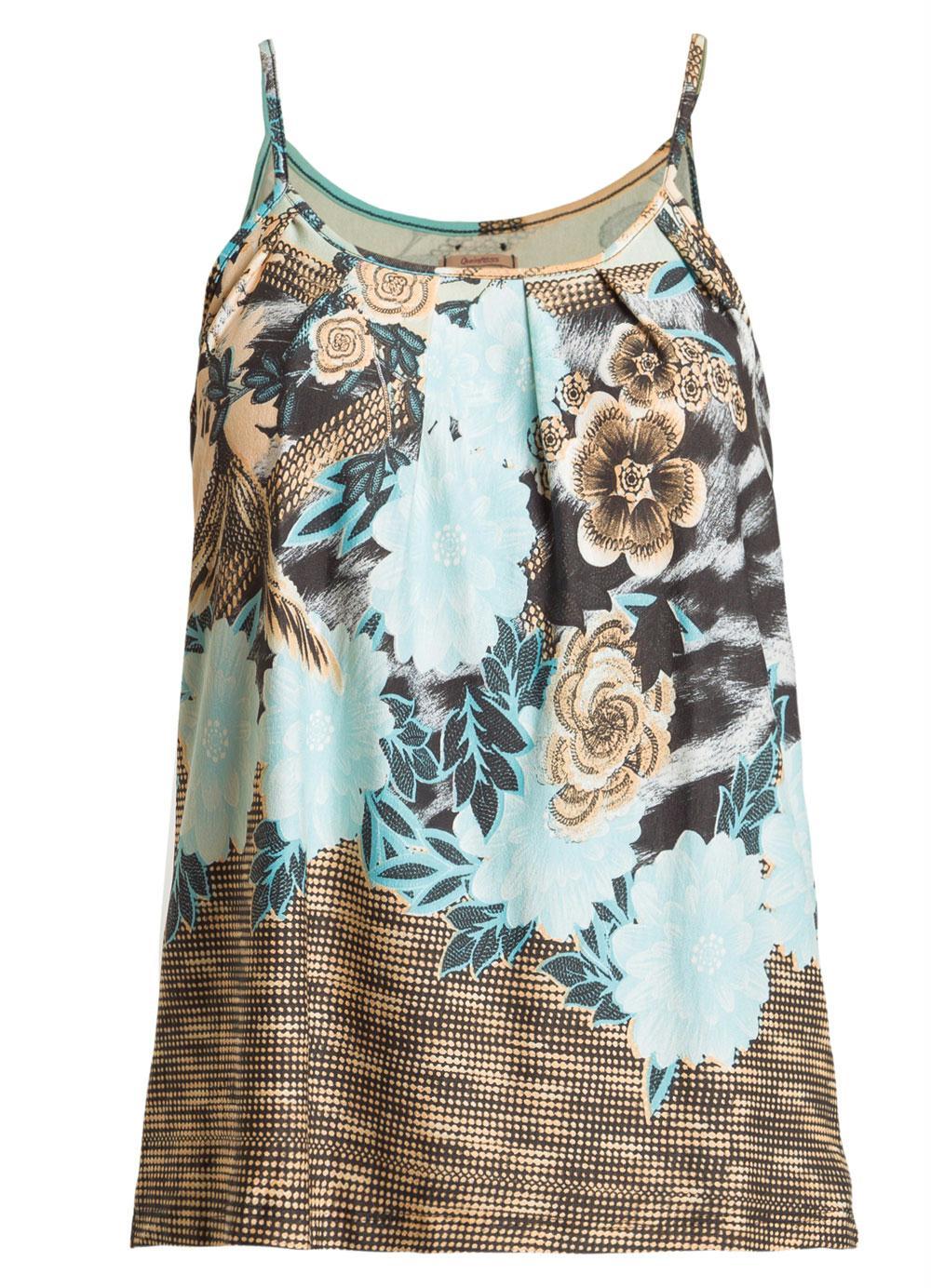 5cb5912b0 Blusa de Alça com Pregas Floral Azul Quintess - Quintess