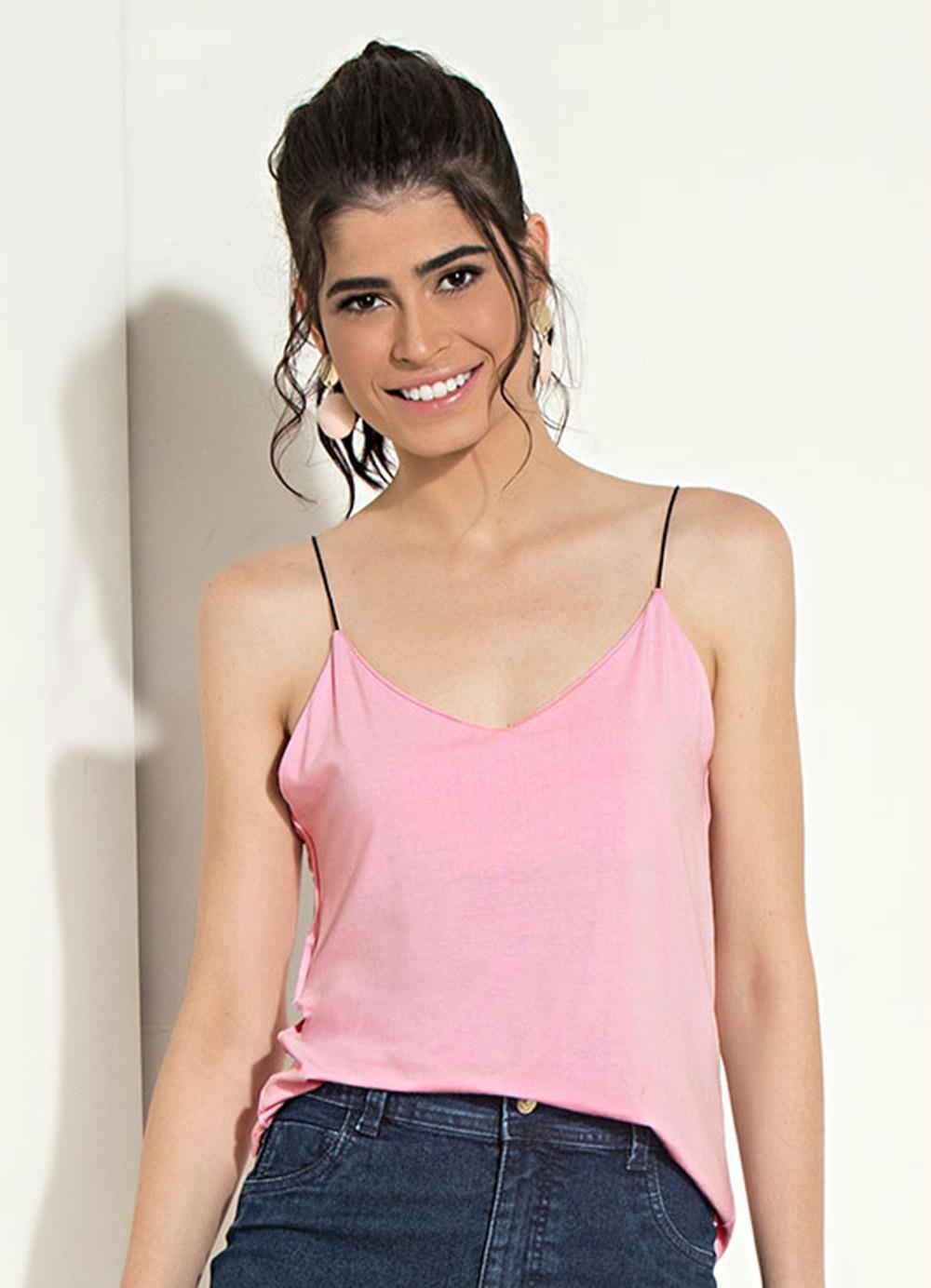 4b3e0cffe Blusa de Alças Finas Rosa Quintess - Quintess