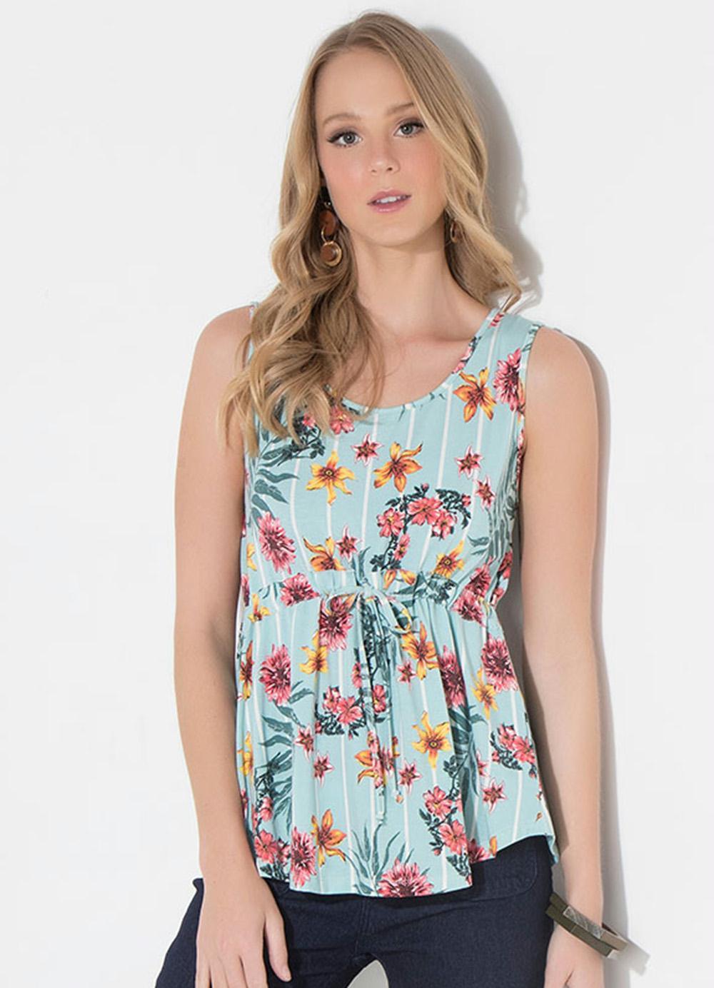 Blusa Quintess Listras Floral com Tunel e Cordel - Quintess c31ce11db20