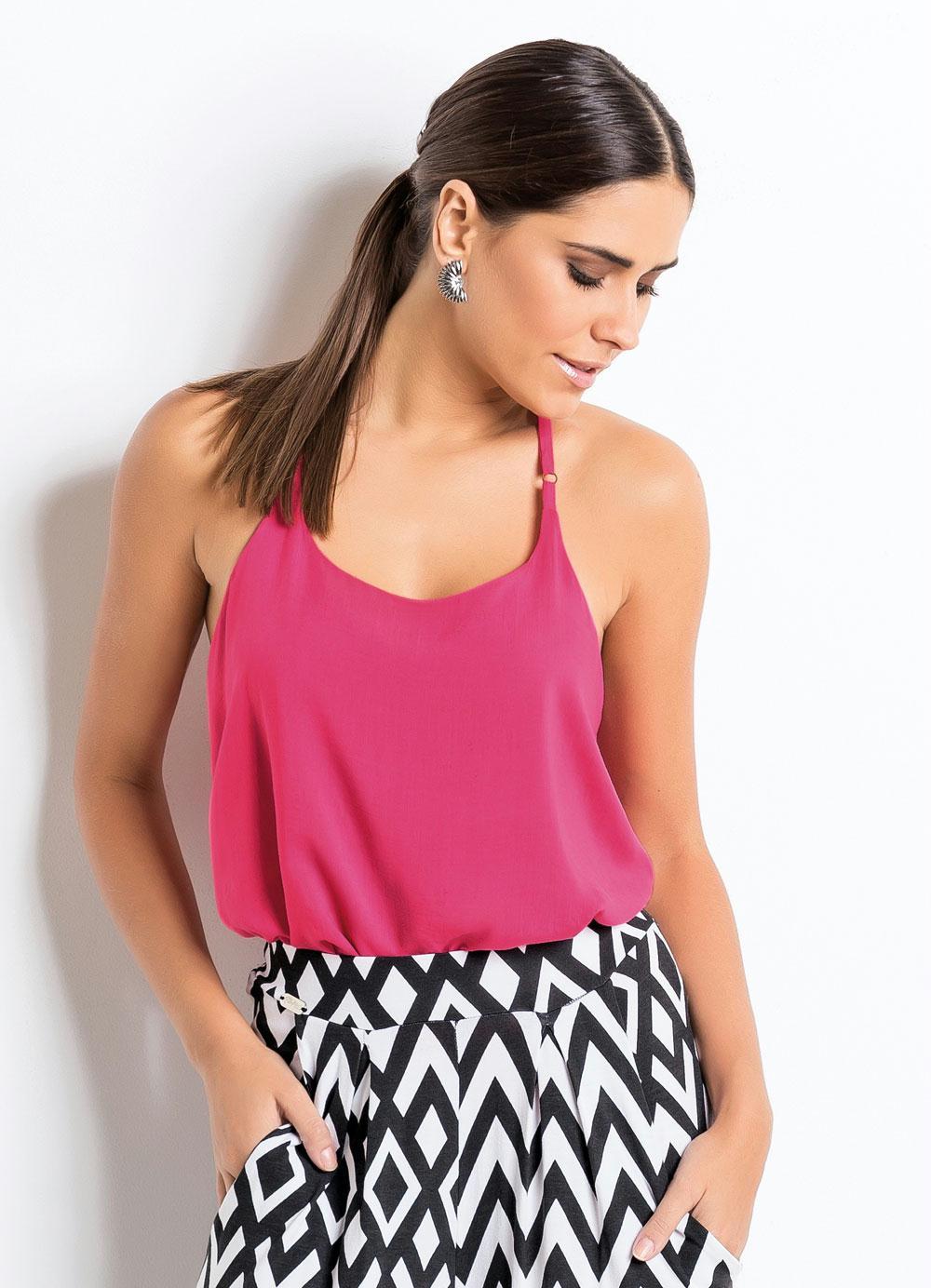 b62bb96a45 Blusa de Alça com Costas Nadador Pink - Quintess