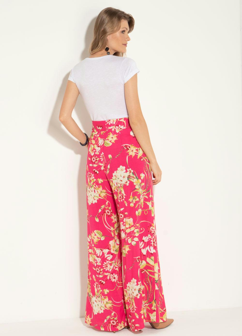 cb7f2ddea Calça Pantalona Floral Ampla com Bolsos - Quintess