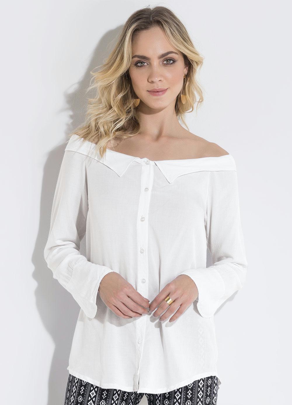 4e2091a192 Camisa Ombro a Ombro Off White Quintess - Quintess