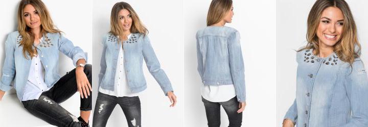 0.0 Jaqueta Jeans com Pedrarias Azul Claro 2464a8736dd