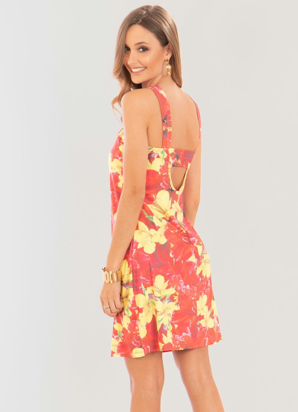 47fb13360 Vestido Quintess Floral Vermelho Decote de Tiras - Quintess