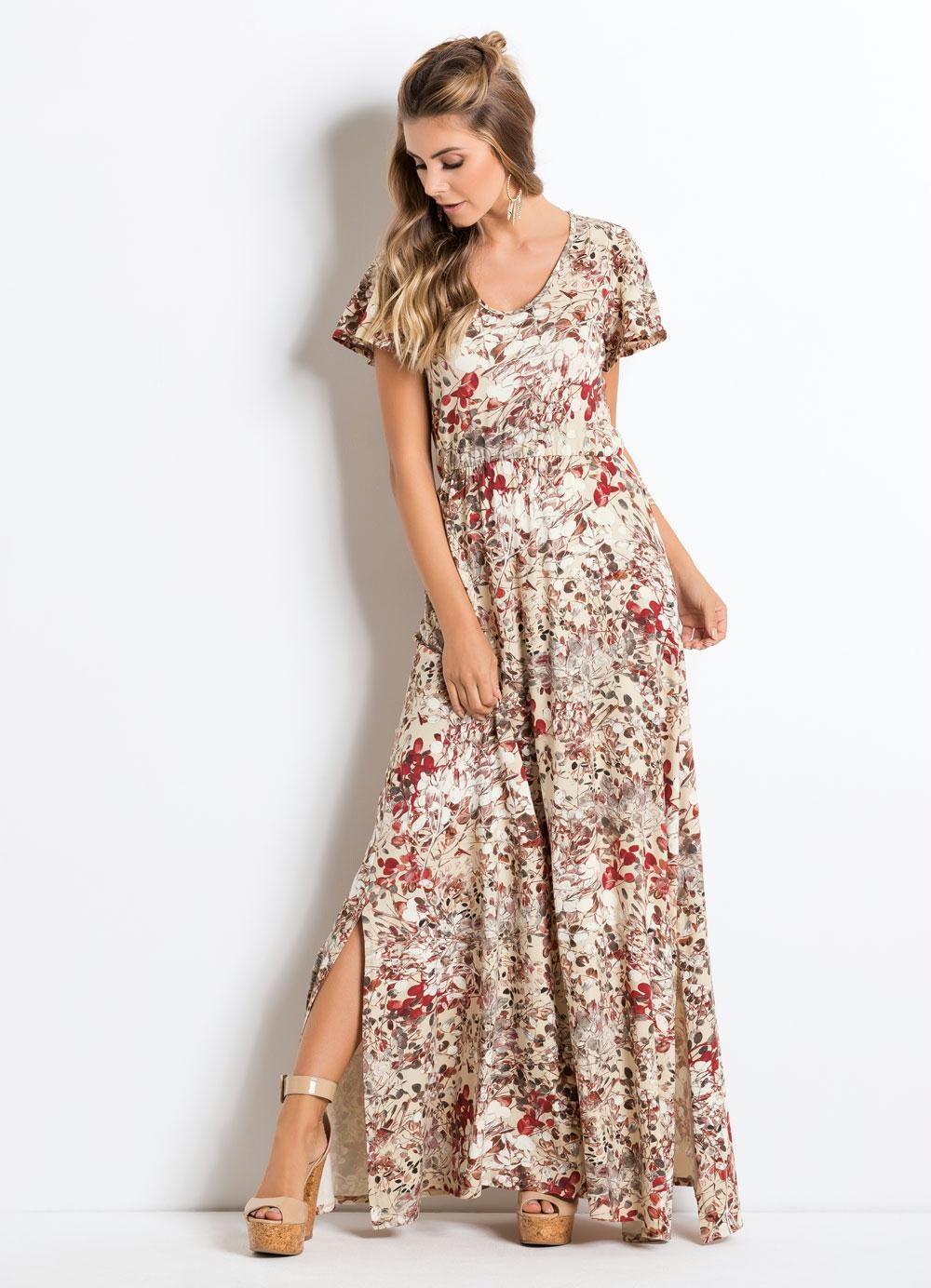 c50c59c5e Vestido Longo com Fendas Floral Bege Quintess - Quintess