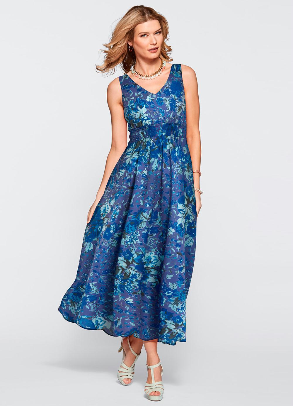 d2229f9afd55 Vestido Longo Estampado Azul - bonprix
