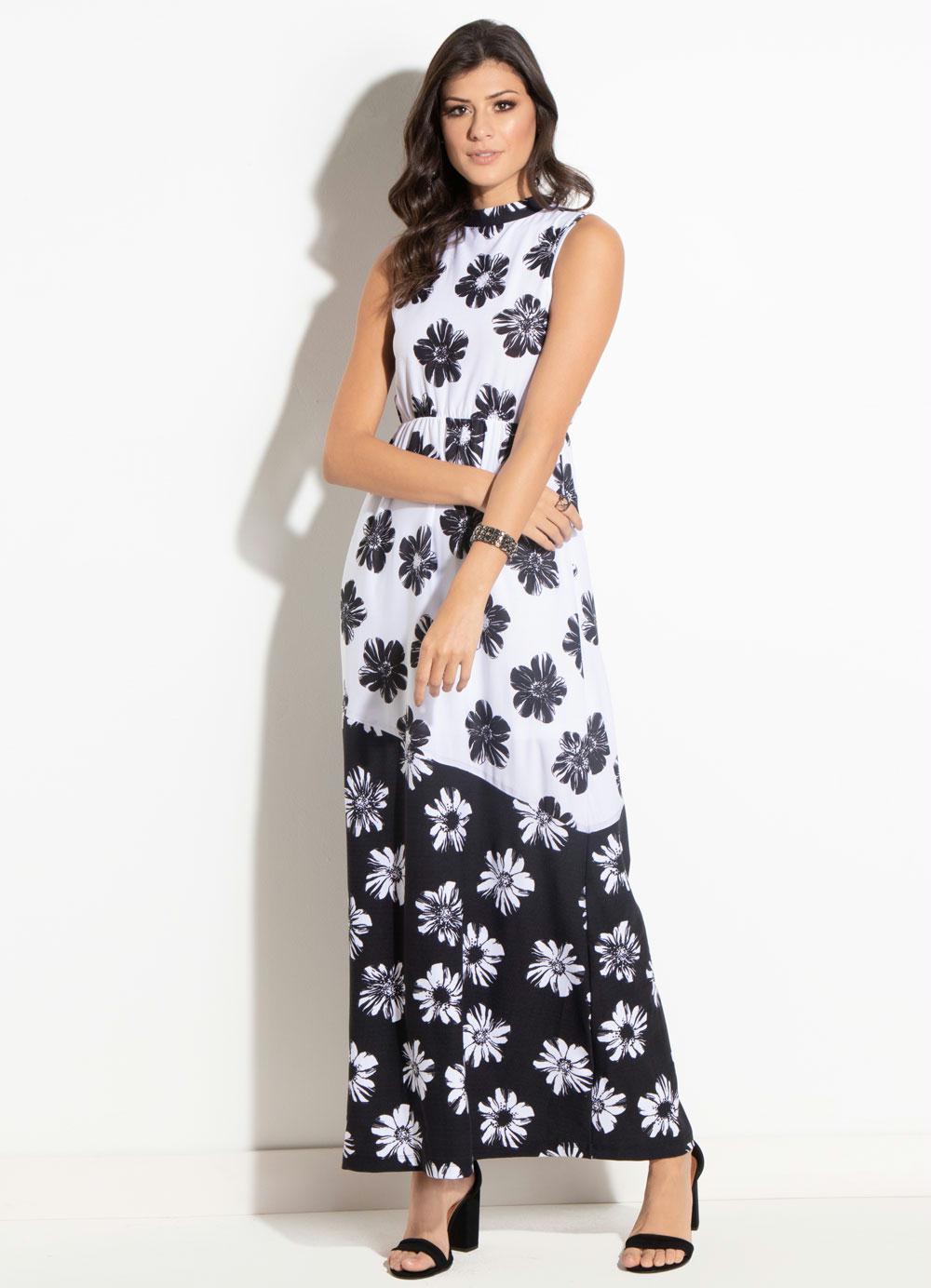 ae19ab0a4 Vestido Longo Quintess Floral Preto e Branco - Quintess