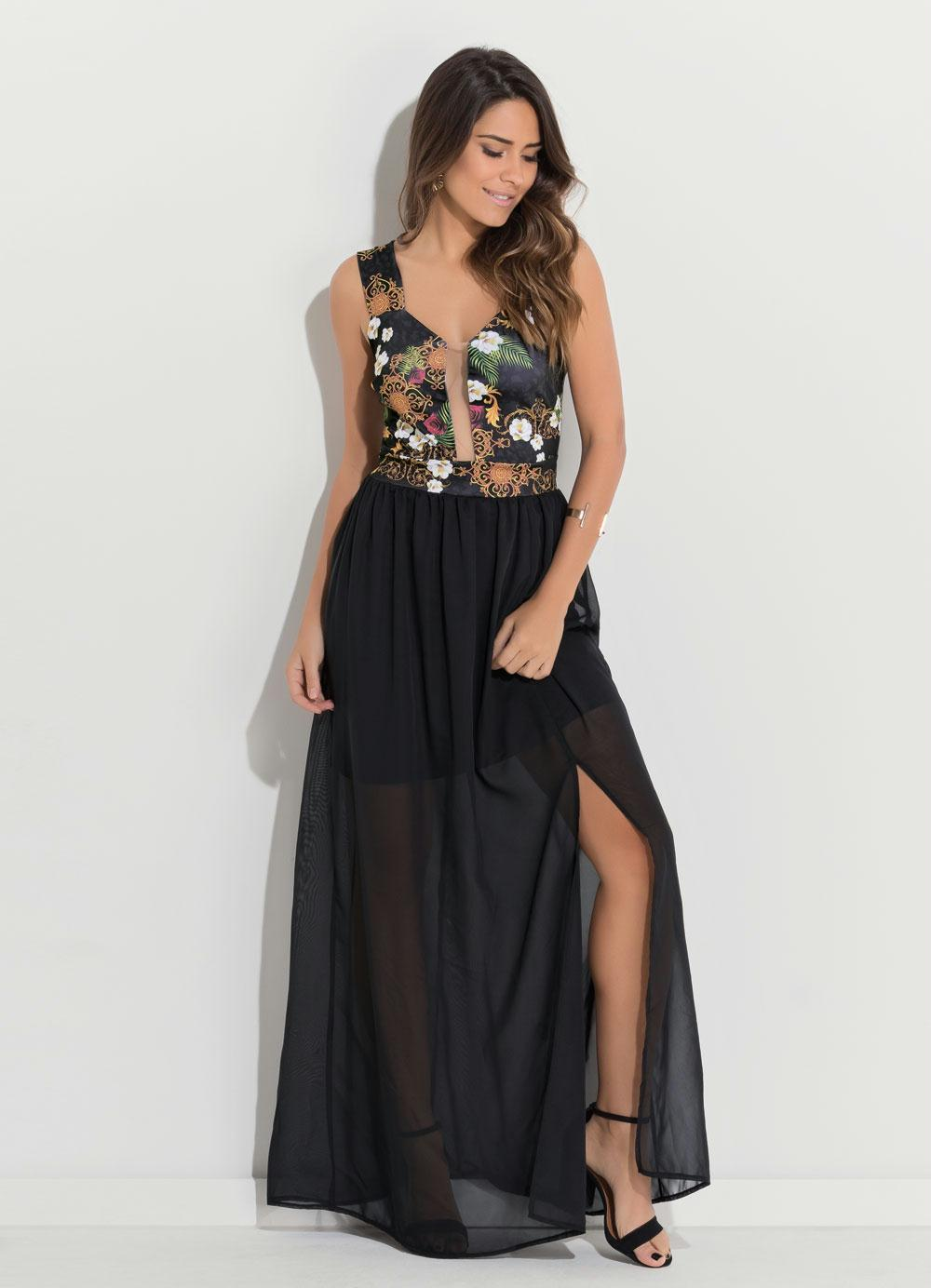6b30ad7e3 Vestido Quintess Longo com Fenda Floral e Preto - Quintess